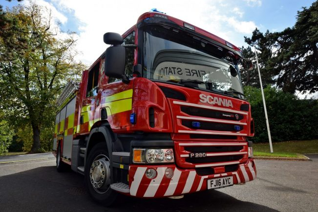 Bromsgrove fire crews rescued three people trapped in a lift