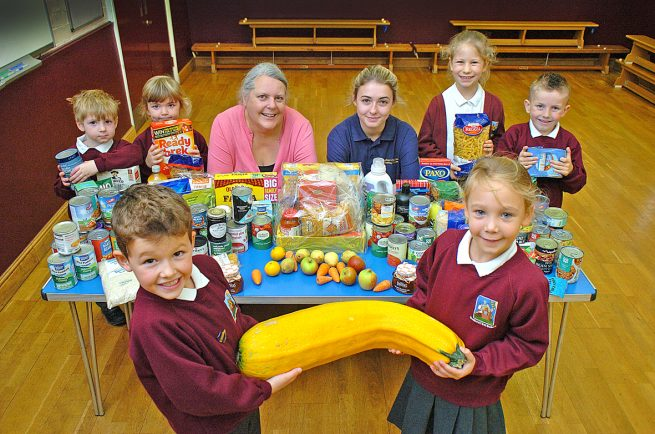 Dodford First School's harvest provides bumper crop for Bromsgrove charities