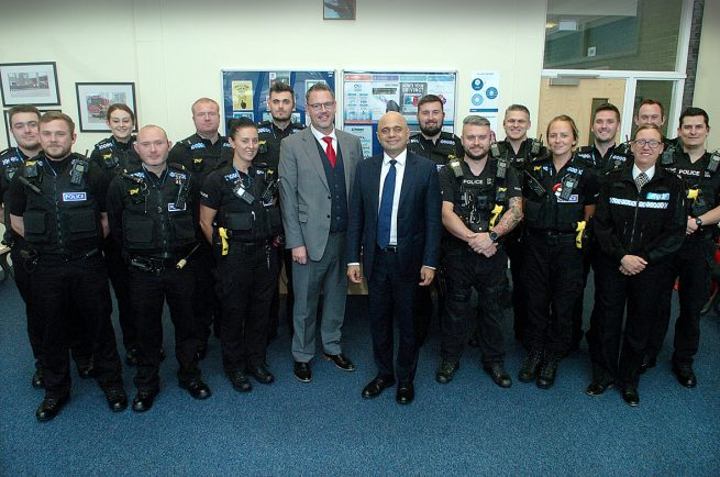 Chancellor and town MP visits Bromsgrove Police Station to meet new recruits and discuss funding